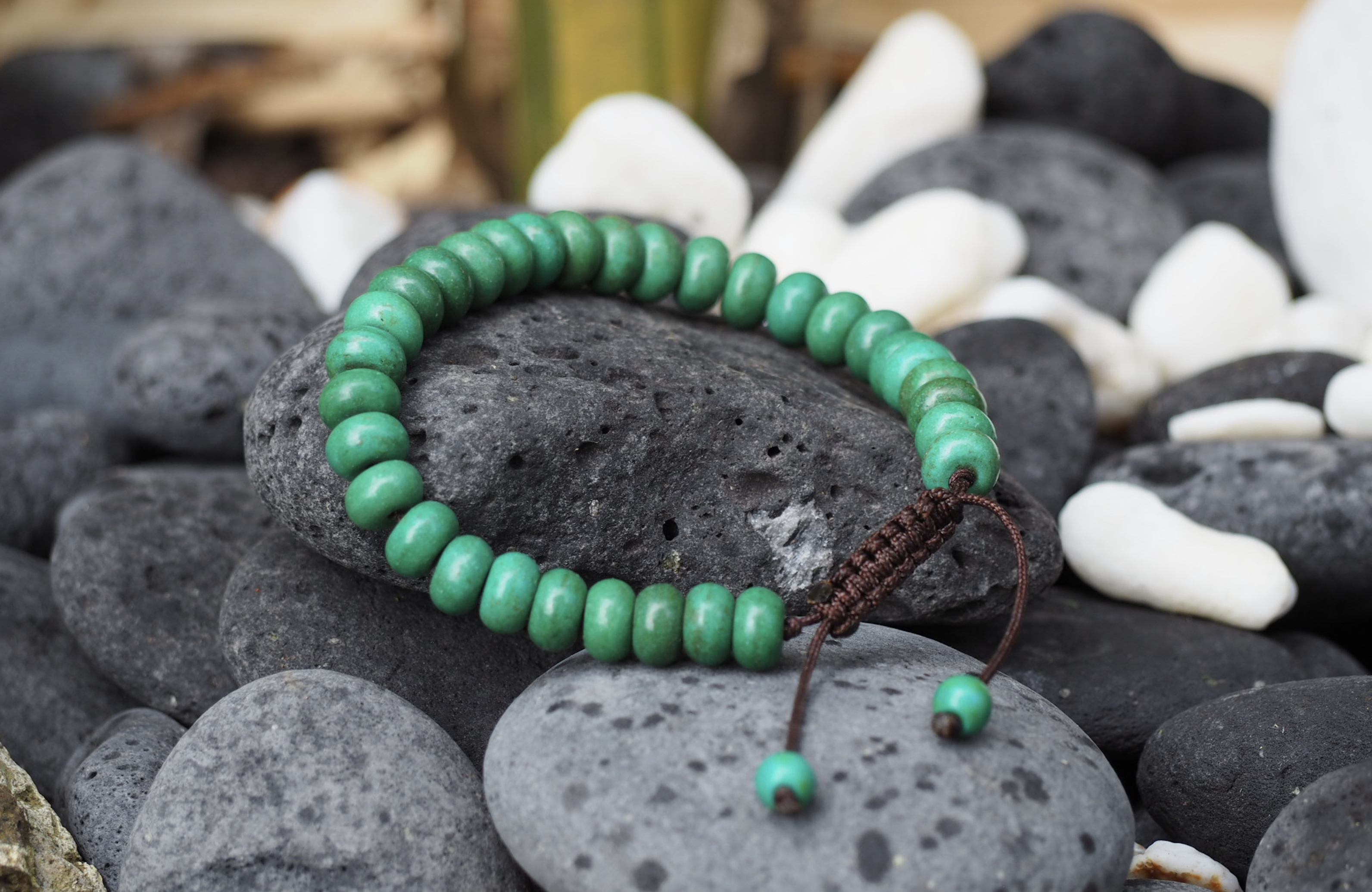 Tibetan Turquoise Wrist Mala/Bracelet for Meditation - Brown String